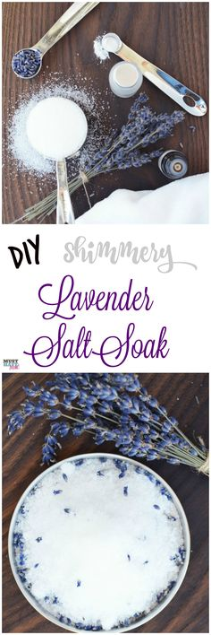Shimmery lavender salt soak just like the spa! This bath salt recipe is easy and so luxurious! Makes a great DIY gift idea too.