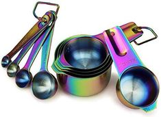 9 Piece Stainless Steel Rainbow/Iridescent/Oil Slick Measuring Cup and Spoon Set by ColorMeHome Kitchen Cutlery, Kitchen Items, Kitchen Gadgets, Kitchen Dining, Kitchen Things, Kitchen Decor, Rainbow Kitchen, Rainbow Metal, Pub Set