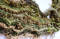Julia Wright Jewellery, free form knit and crochet Crochet Geek, Crochet Art, Free Crochet, A Level Textiles, Growth And Decay, Textiles Techniques, Yarn Bombing, Freeform Crochet, Textile Jewelry