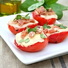 about 7 PointsPlus per tomato, was difficult to calculate | Grilled Tomatoes with Cheese, Prosciutto and Basil