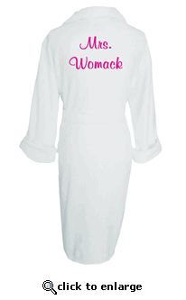 Custom Embroidered Bride Robe - Personalized Mrs. Robe.  Get ready for your wedding day in style!  Put on your custom embroidered robe, sit back with a glass of champagne, and get hair/makeup ready!