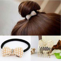 YouMap Strass Cristal Mignon Cheveux Peignes Simulé-Perle Petit Bébé Arc Accessoires Cheveux Élastique Bandes De Cheveux Bijoux