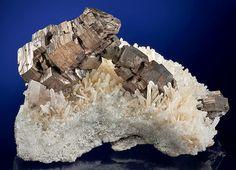pyramidal Pyrrhotites on Quartz crystals -- Nikolaevskiy Mine, Dal'negorsk, Primorskiy Kray, Russia