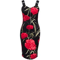 Ax Paris Flower Bodycon ($45) ❤ liked on Polyvore featuring dresses, black, party dresses, womens-fashion, blossom dress, elastic dress, ax paris, body conscious dress and zipper dress