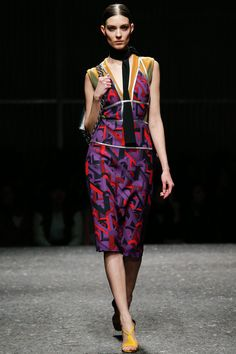 Prada Women's Fall 2014. Inspired by the 1920s/1930s, Art Deco, Metropolis, Weimar era, Dietrich, Pina Bausch, Joseph Beuys, Cecile B. DeMille's Cleopatra and most notably the films of director Rainer Werner Fassbinder.
