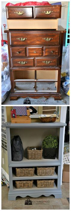 before and after photo of dresser turned console unit
