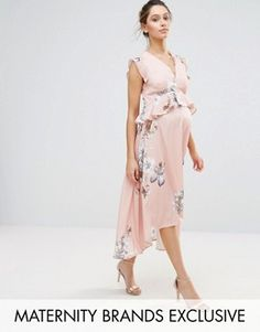 Hope and Ivy Maternity Hope & Ivy Maternity Bird Print Hi Lo Midi Dress Maternity Midi Dress, Maxi Dress Wedding, Pink Midi Dress, Stylish Maternity, Maternity Fashion, Maternity Clothing, Online Shop Kleidung, Asos Mode, Pregnancy Outfits