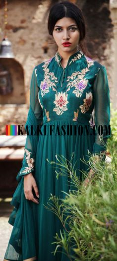 Buy Online from the link below. We ship worldwide (Free Shipping over US$100) http://www.kalkifashion.com/teal-suit-attached-dupatta-and-gathers-and-zari-by-gaurav-gupta.html Teal suit attached dupatta and gathers and zari By Gaurav Gupta