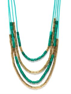 Hotberries Teal Blue & Gold Beaded Necklace
