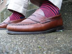 daece2d38bd Navy and red striped socks. Penny LoafersLoafers ...