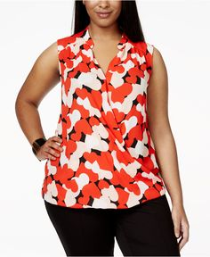INC International Concepts Plus Size Printed Surplice Top, Only at Macy's - Clothing - For Her - Macy's