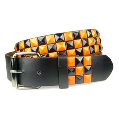 Snap On Punk Rock Star Studded Black Orange Checkerboard Pattern... ❤ liked on Polyvore featuring accessories, belts, studded, punk belt, buckle belt, punk studded belt, leather snap belt and snap belt