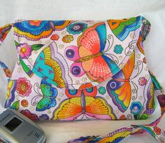 Small Shoulder Bag Beaded Butterflies Laurel by bungalowquilts, $25.00