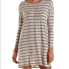 Grey Striped T Shirt Dress By Charlotte Russe