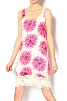 Tank dress with hot pink flowers on a tan background andfringe at the hemline. Make a statement with black sandals and gold bangles.   Hot Pink Floral Dress by Buddy Love. Clothing - Dresses - Floral Clothing - Dresses - Casual Dallas, Texas