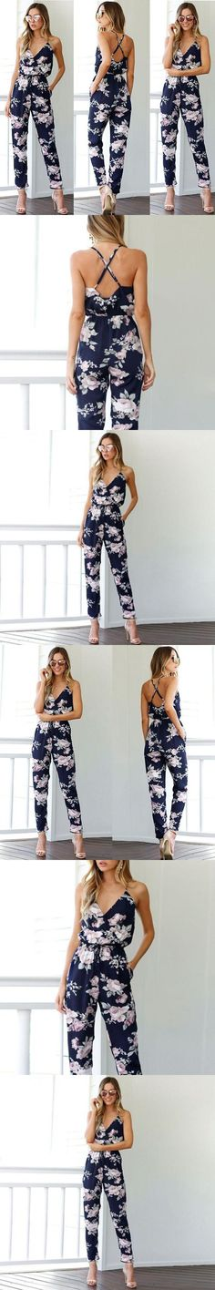 c2129add9fe 2017 New Summer Jumpsuit Women Floral V-Neck Female Playsuit Sexy Ladies  Sleeveless Clothes Woman