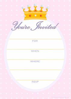 Free Princess Birthday Party Invitation Templates