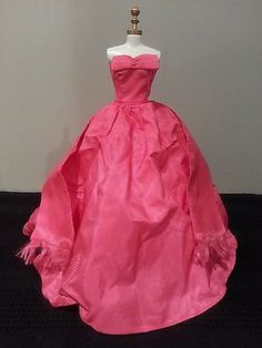 Beautiful Halina's Doll Fashions of Chicago Taffeta Ball Gown with Fringed Wrap!