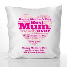 Mothers Day Heart of Words Personalised Cushion