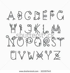 Cute line latin alphabet. Isolated, outline, empty letters for kids design. Polices et Calligraphie Doodle Alphabet, Doodle Art Letters, Handwriting Alphabet, Hand Lettering Alphabet, Alphabet Design, Doodle Lettering, Creative Lettering, Lettering Styles, Hand Lettering