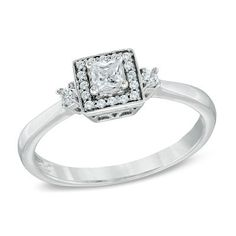 1/4 CT. T.W. Princess-Cut Diamond Frame Ring in 10K White Gold - View All Rings - Zales