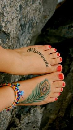 Placement of the writing on the foot