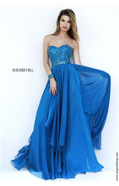 Sherri Hill 1943 Sweetheart Strapless Chiffon Gown, SHERRI HILL DRESSES, Prom dresses, Prom Dress, Evening wear.  This dress is due in the end of Feb 2015, I love this colour which is the peacock but also arriving in teal, aqua and purple.  Under £300 too, wow...
