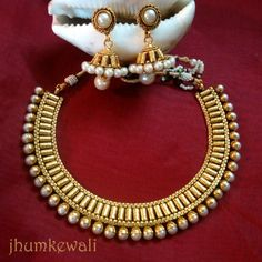GOLD n PEARL necklace with JHUMKAS