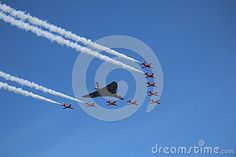 The Red Arrows Display Team escorting the AVRO Vulcan at the Southport Air Show 2015.