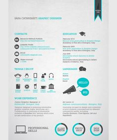Business infographic & data visualisation Graphic Resume/ CV by Sara Catanzariti, via Behance. Infographic Description Graphic Resume/ CV by Sara Best Resume, Resume Tips, Resume Cv, Resume Examples, Resume Ideas, Cv Ideas, Web Design, Design Ideas, Illustrator Design