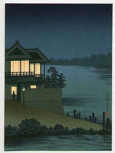"""Lighted House on Riverside"" - By Kobayachi Kiyochika"