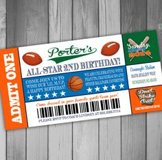 All Star Birthday Ticket Invitation Sports by CLaceyDesign on Etsy, $15.00