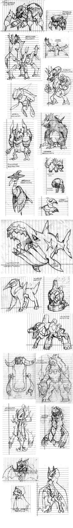 Fakemon Remake Sketchdump by darksilvania on DeviantArt