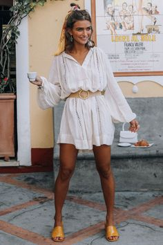 Hair styling inspo Loves Me Not Tunic Dress - Spell USA Dress Outfits, Casual Outfits, Cute Outfits, Chic Summer Outfits, White Dress Outfit, Dress Casual, Summer Brunch Outfit, White Tunic Dress, Chic Summer Style
