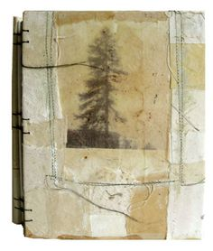 """winthrop"" collage and beeswax handbound blank journal 8x6 inches"