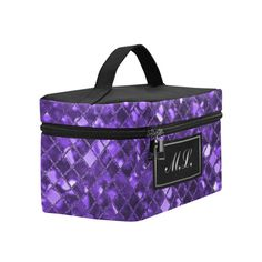 Monogram Amethyst Purple Sparkle Cosmetic Bag/Large (Model 1658)