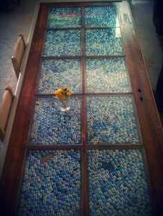 Old door repurposed into a table.