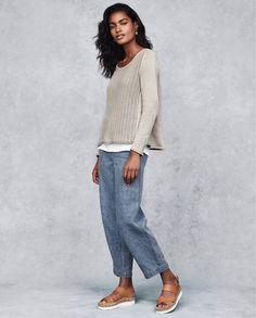Image of Indigo linen trousers