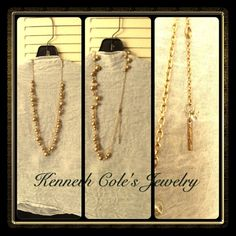 Kenneth Cole Beautiful Brass Tone Necklace 27 inches plus 3inch extender.  Brass and glass beads in multiple sizes on brass chain.  Gently worn.  Perfect condition.  Be. Kenneth Cole Jewelry Necklaces