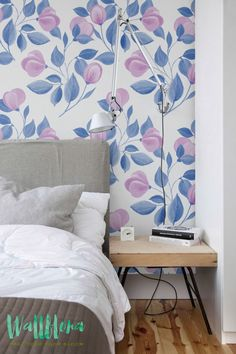 Pink Flower Buds Pattern Wallpaper   Removable Buds Print Wallpaper   Flower Wall Sticker   Wall Decal - Pink Buds Self Adhesive Wallpaper