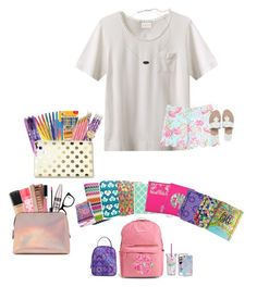 """""""Katie's contest set 2: first day of school."""" by pandapeeper ❤ liked on Polyvore featuring EAST, Lilly Pulitzer, Jack Rogers, Vera Bradley, Paper Mate, BIC, Kate Spade, Muse, Kendra Scott and MAC Cosmetics"""