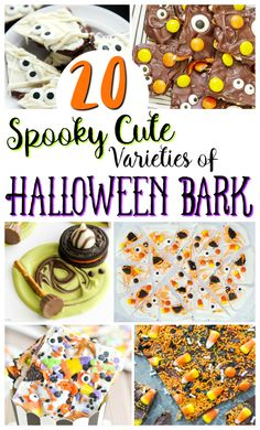 20 Halloween Bark Candy Recipes - Creative Cynchronicity - I love holiday recipes. They're always so fun and so colourful. These Halloween bark candy recipe - Fun Halloween Treats, Halloween Baking, Halloween Goodies, Homemade Halloween, Halloween Food For Party, Halloween Candy, Holiday Treats, Holiday Recipes, Holiday Foods