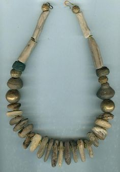 by Anne Marie | Driftwood combined with Hebron beads and two pre-colombian spindle whorls. | BeadArt Austria Designs