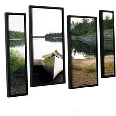 ArtWall Ken Kirsh Silent Retreat 1 inch 4-Piece Floater Framed Canvas Staggered Set, Size: 24 x 36, Green