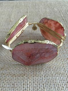 Bourbon and Boweties Gold Electroplated Pink Agate Standard Wrist