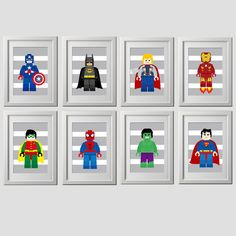 This listing is for all 8 adorable superhero lego character wall prints, 8x10 images on PDF PLEASE NOTE: These are PDF files, NOT JPEG