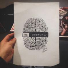 Slide to unlock your mind, brain, sketch, iphone, art, cervello, arte, artistico, mind, tatto, ideas, idea by edwin basha