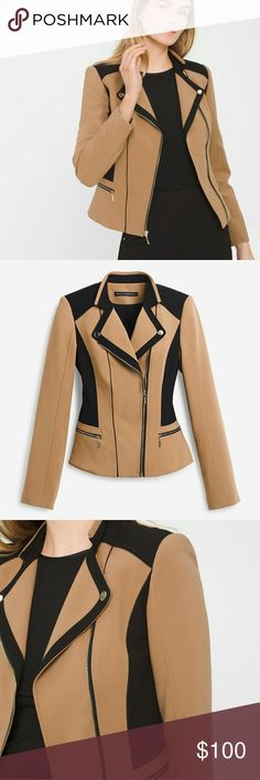 """WHBM colorblock moto jacket 🚨SOLD OUT instores & hard to find. NEW WITH TAGS🚨  The conversation starter, our design combines bold colorblocking and classic moto styling. Wear this jacket with our slim ankle pants or go full throttle with our leather leggings.  Polyester/rayon/spandex.  Machine wash, cold. Regular: Approx. 26.5"""" from shoulder C13121817 White House Black Market Jackets & Coats"""