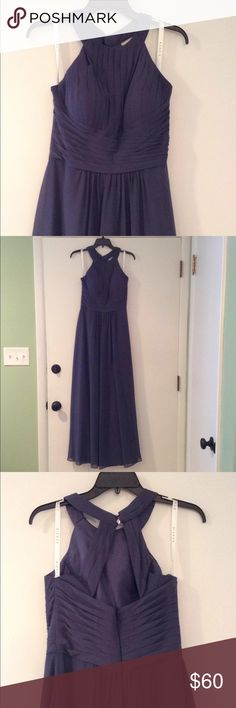 Chiffon Bridesmaid Dress Azazie grey-blue dress. Full length. Has a few water marks that should wash out. Worn once. Dresses Prom