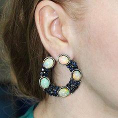 Blue Sapphire Opal Studded 2ct Diamond 14K Gold Hoop Earrings 925 Silver Jewelry #Handmade #Hoop